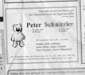 Todesanzeige auf hohem Niveau, Quelle: Berliner Zeitung
